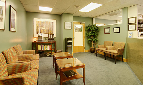 Interior view of the comfortable lobby at Dr. Martha Rich, DMD